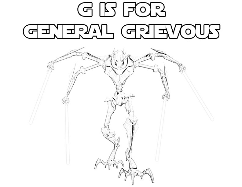 Star Wars Alphabet Coloring Page G is for General Grievous The