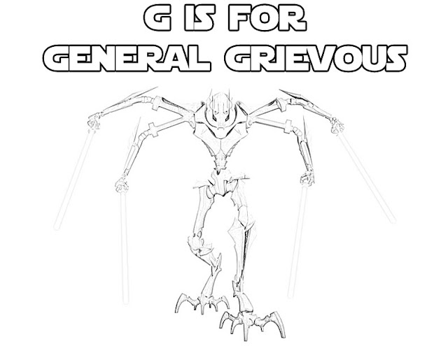 Free Star Wars printable alphabet coloring page. G is for General Grievous.