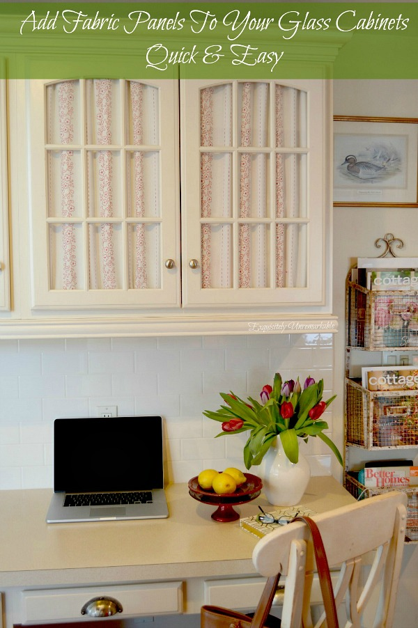 How To Cover Glass Cabinets With Fabric