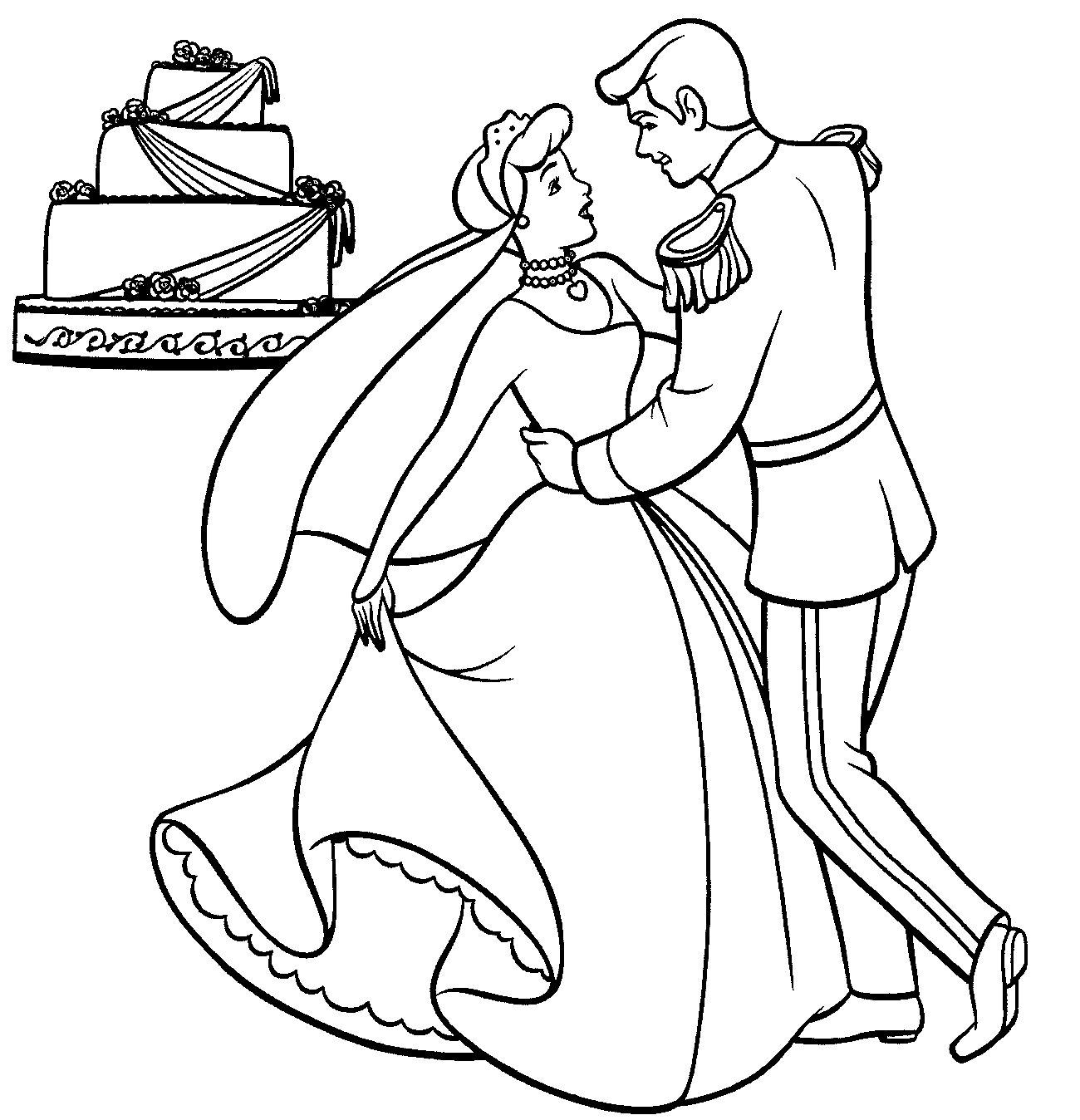 wedding coloring book pages - cinderella wedding coloring pages disney coloring pages