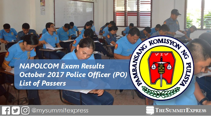 Police Officer PO Passers: October 2017 NAPOLCOM Exam Results