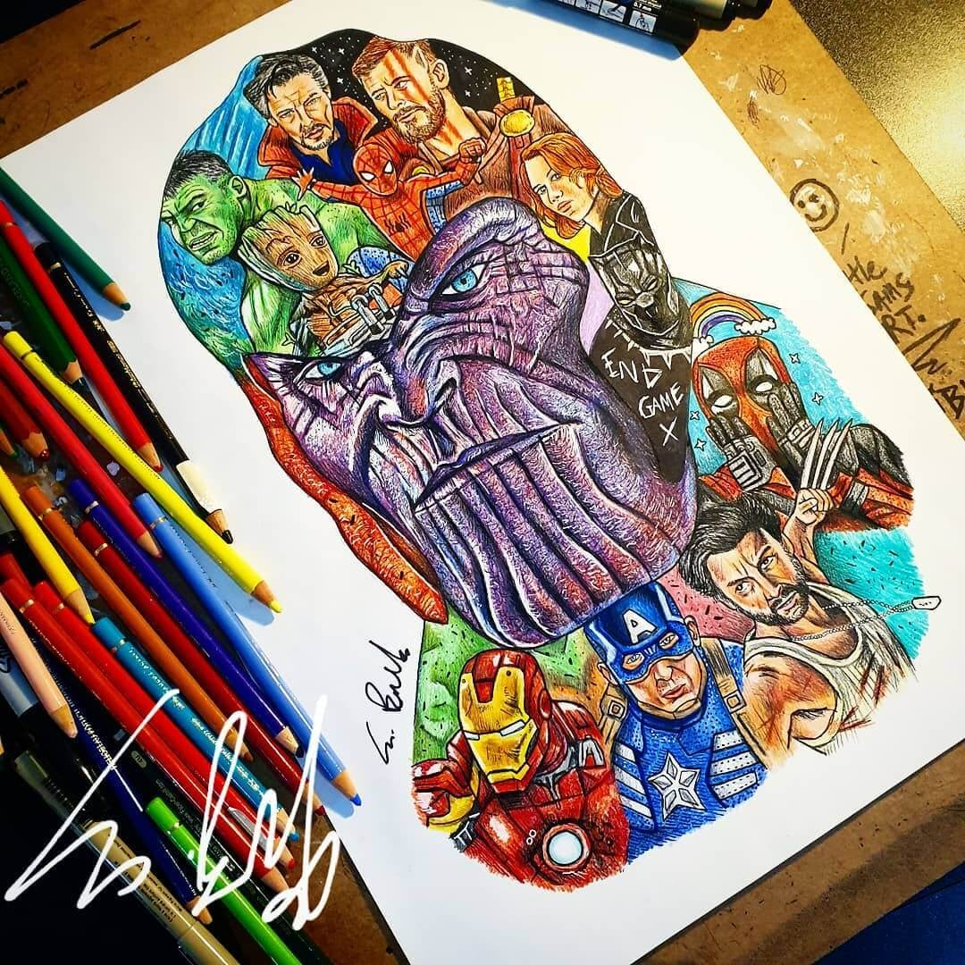 02-Avengers Infinity War Thanos-S-Brunell-Movie-Drawings-within-Drawings-www-designstack-co