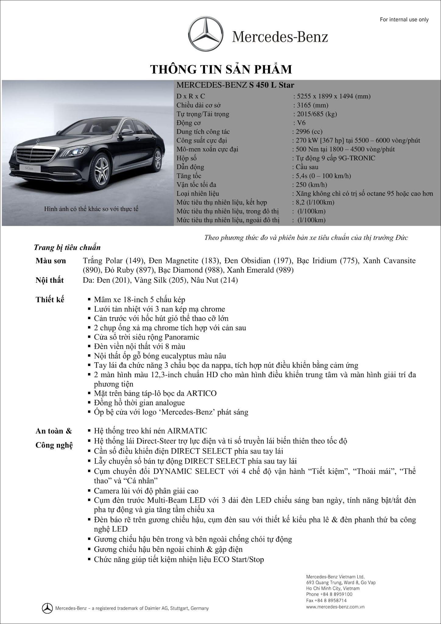 Bảng thông số kỹ thuật Mercedes S450 L Star 2019