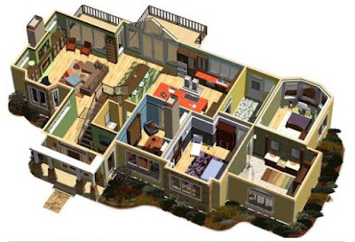 Contoh Denah Rumah 3 Kamar Tidur Minimalis 3D