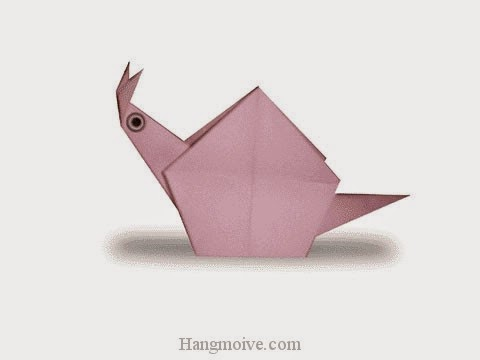 Cách gấp, xếp con ốc bằng giấy origami - Video hướng dẫn xếp hình côn trùng - How to fold a Snail