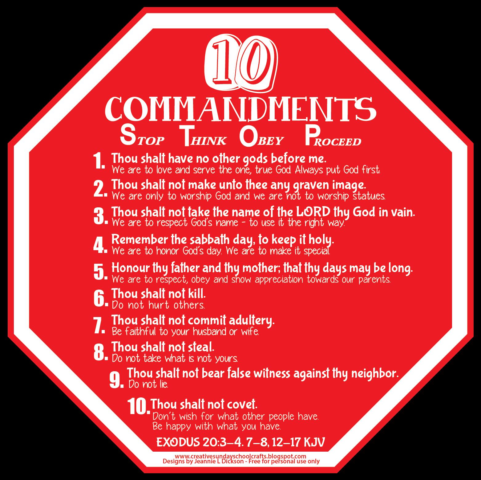 Creative Sunday School Crafts Ten Commandments Visual