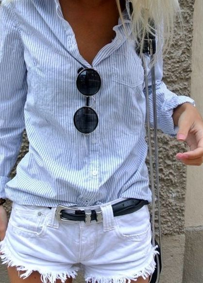cute street style outfit: shirt + white shorts