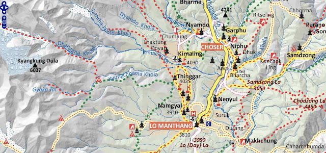 Upper Mustang Tiji Festival Trek Map
