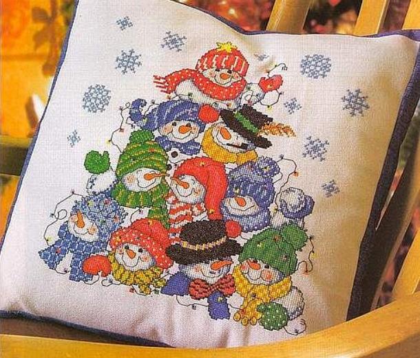 снеговик, снеговик вышитый, вышивка, зимние мотивы, вышитый декор, вышивка крестом, схемы для вышивки, мулине, нитки, канва, снеговики, как вышить снеговика, вышитый декор, зимний декор, новогодний декор,