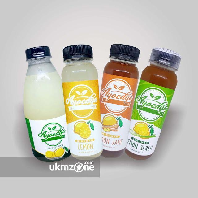 Desain label stiker kemasan minuman botol untuk UKM UMKM IKM Ayoedya