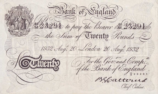 Great Britain 20 Pound Sterling White Note 1932 Bank of England