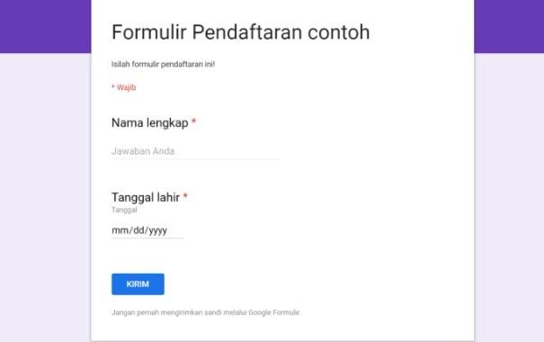Contoh formulir pendaftaran online