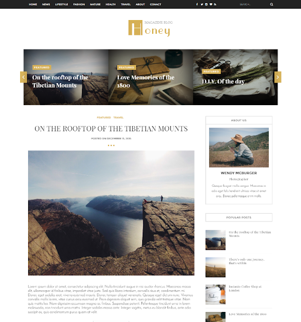 Honey - Personal Blogger Template
