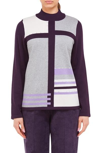 dec3a2f2a2a80 Colourblock Stripe Mock Neck Sweater