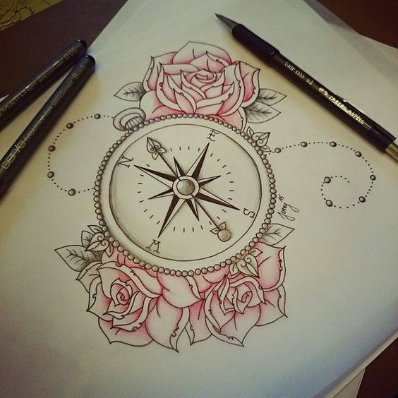 Beautiful Flower with Compass Tattoo