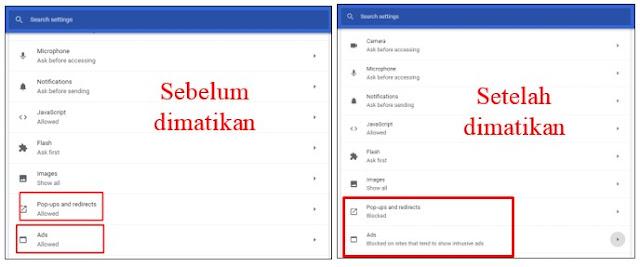Cara Mematikan Adblock di Aplikasi Google Chrome Android dan Laptop