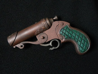 steampunk pistol large bore barrel leather grips