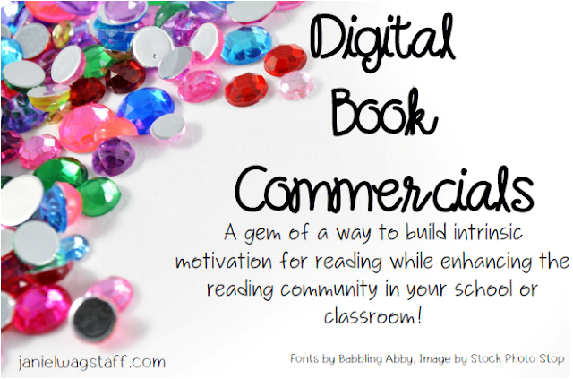 Start digital book commercials tomorrow!  This post includes a video example and a handout of general guidelines for implementing book commercials in your school or classroom!  Build intrinsic motivation to read while nurturing your reading community!