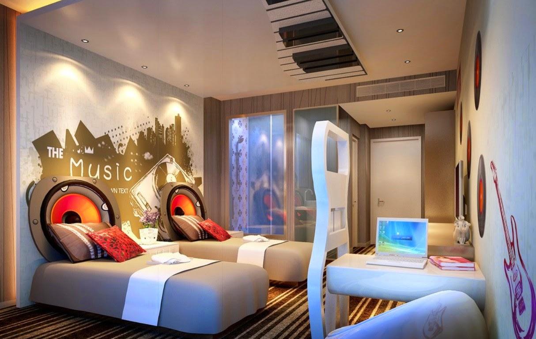 Dormitorio tema musical colores en casa - Murales pintados en la pared ...