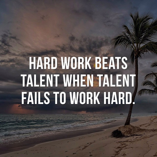 Hard work beats talent, when talent fails to work hard.- Inspiration Quotes