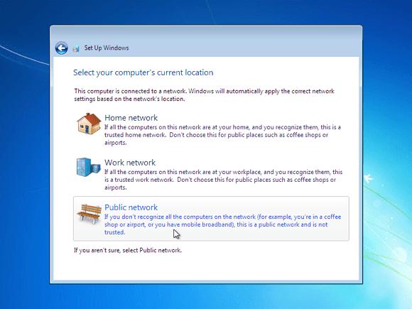 Cara instal windows 7 - pilih lokasi wifi anda