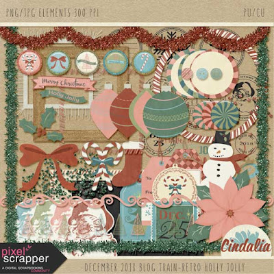 Pixel Scrapper, digital scrapbooking, blog train, free, digital, christmas, winter, December, holly jolly, retro, photoshop