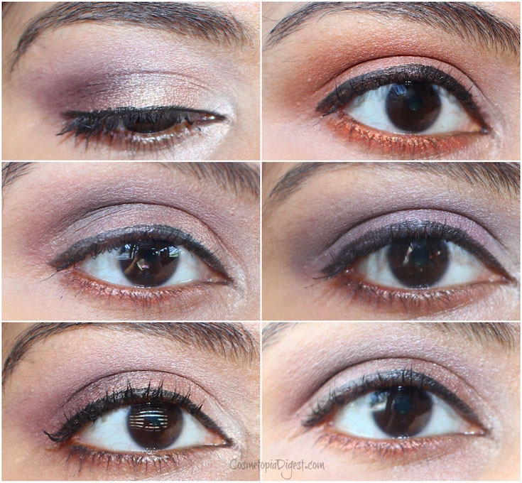 Review and swatches of the Viseart Paris Nude palette and four eye makeup looks.
