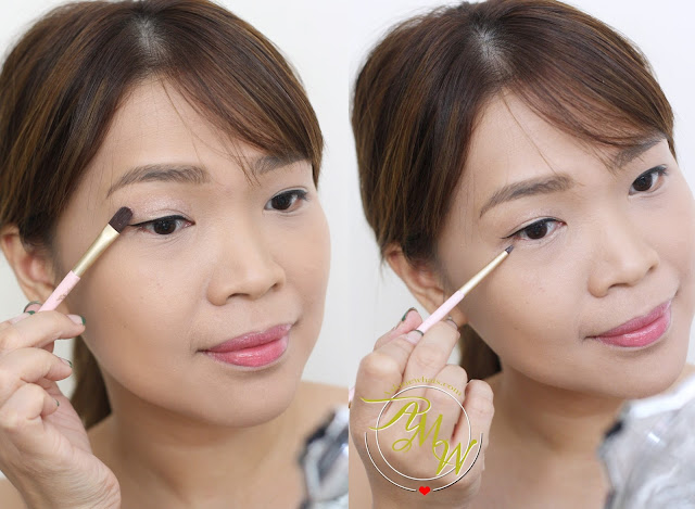 a photo on how to apply Sleek Strobing SOuffle Pink Opal_Etude House My Beauty Tool Brush in 110_Nikki Tiu
