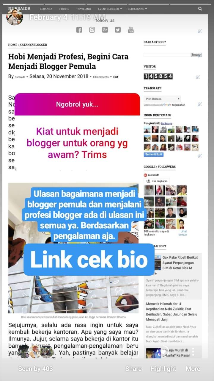 Cara promosi di instagram story,8 cara menaikan kunjungan profil
