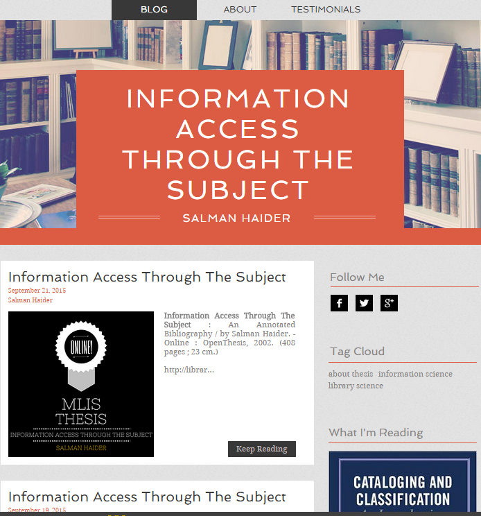 Information Access Through The Subject