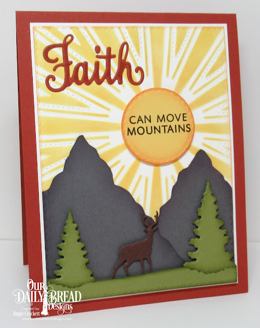 ODBD Walk by Faith Stamp/Die Duos, ODBD Custom Sunburst Background Die, ODBD Custom Trees and Deer Dies, ODBD Custom Double Stitched Rectangles Dies, ODBD Custom Double Stitched Circles Dies, Card Designer Angie Crockett