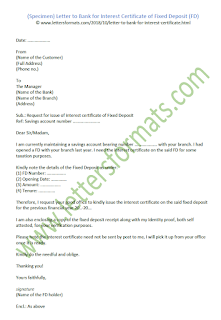 Letter to Bank for Interest Certificate of Fixed Deposit (FD) sample