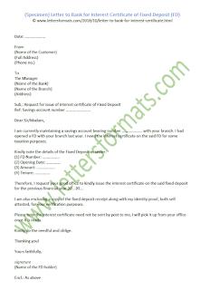 sample letter to bank for interest certificate