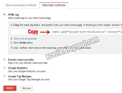 Daftar Google Webmaster - Verifikasi 2