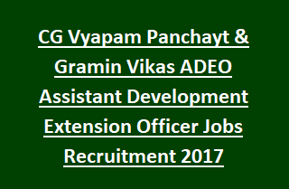 CG Vyapam Panchayt & Gramin Vikas Vibhag ADEO Assistant Development Extension Officer Jobs Recruitment Notification 2017