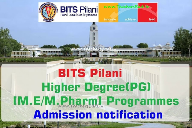 BITS Pilani,Higher Degree(PG),M.E/M.Pharm Programmes,Admissions