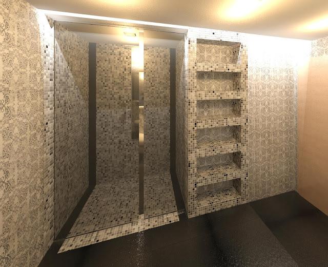 Geometra bagno moderno con rivestimento in mosaico for Bagno moderno doccia