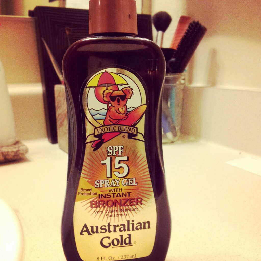 Australian Gold s spray gel with instant bronzer is one of my favorites  just because it smells good! Honestly. I usually put it on over my regular  sunscreen ... b130bd16bd