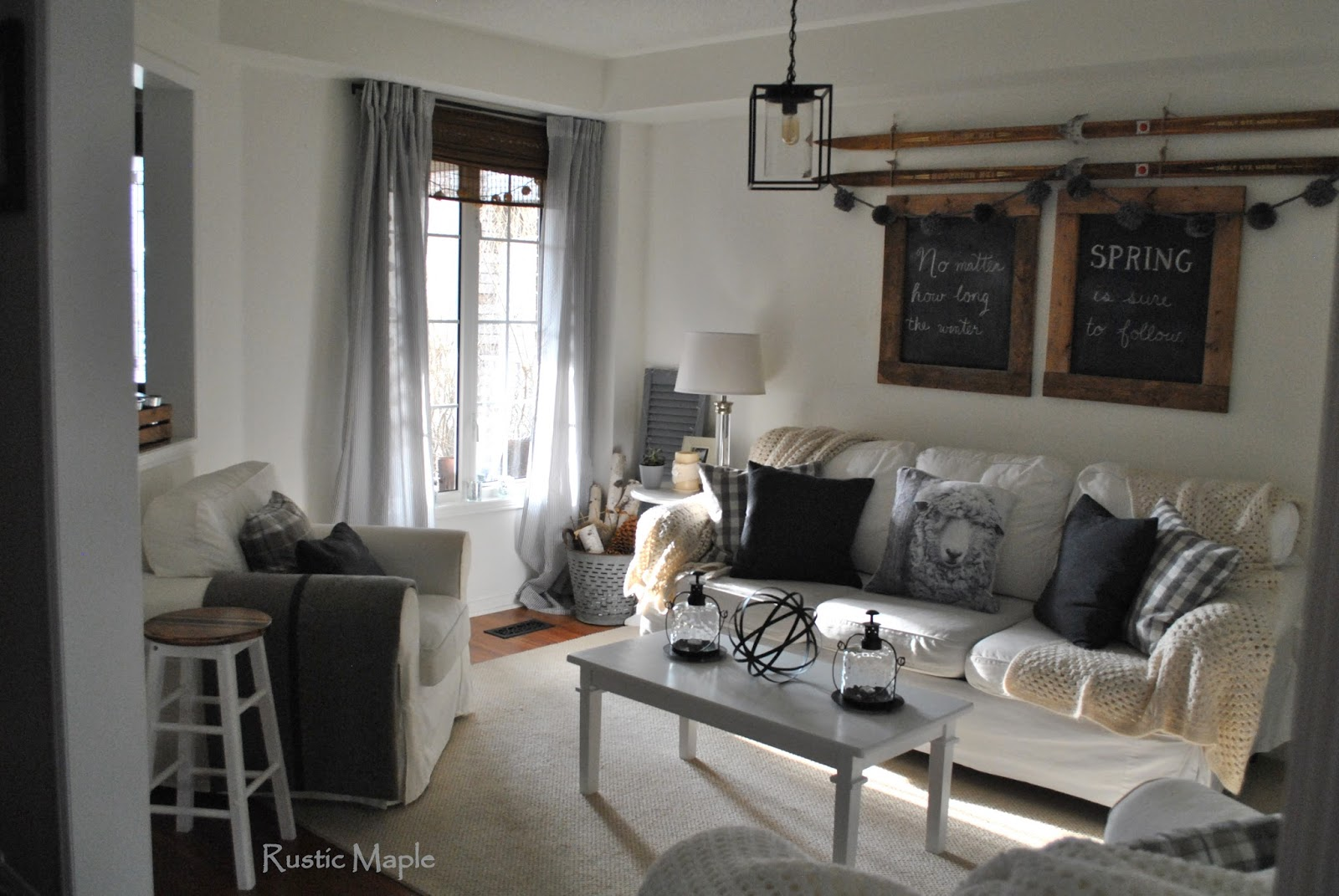 White And Grey With Wood Winter Living Room