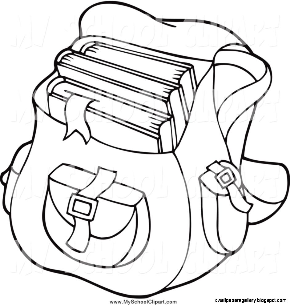 backpack clipart black and white