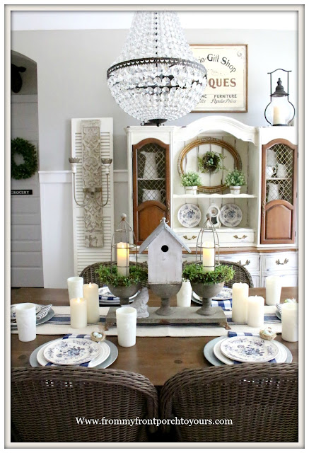 French Country Farmhouse-Dining Room-Bird Nests-Spring Decor-Vignette-Blue and White-Buffalo Check-French Farmhouse-Mia Chandelier-Pottery Barn-From My Front Porch To Yours