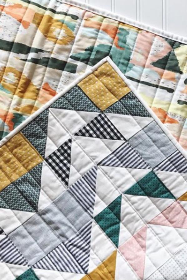 Crib Modern Aztec Quilt made by Penelope Handmade | Shannon Fraser Designs