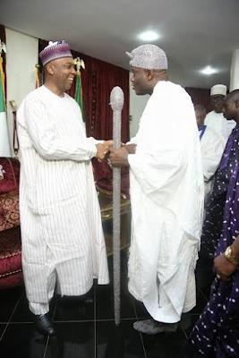 Senate President Bukola Saraki hosts Ooni of Ife Oba Adeyeye Ogunwusi in Abuja
