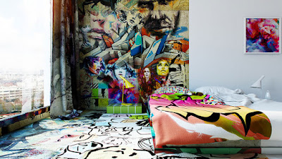 Habitación de hotel con graffiti