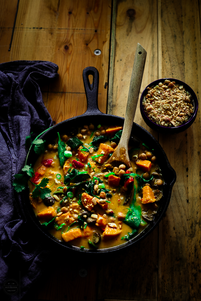 This vegan and healthy Thai Sweet Potato, Chickpea and Mushroom Curry is so wonderful, it is a perfect comfort food for the colder days.
