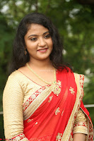 Akshara in Red Saree Golden Choli at LV Movie Makers Production No 1 Movie Opening ~  Exclusive 047.JPG