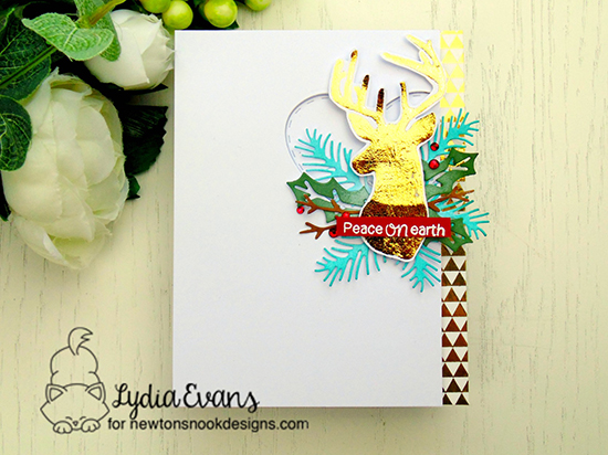 Holiday Deer Card by Lydia Evans | Adventure Awaits stamp set and Pines & Holly Die set by Newton's Nook Designs #newtonsnook