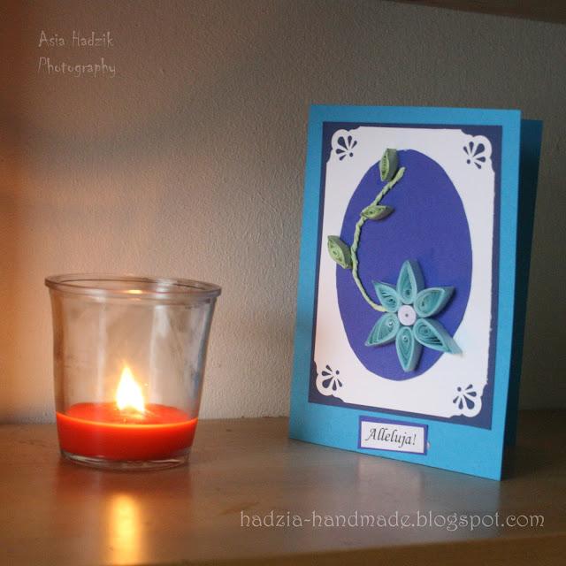 649. Niebieska quilingowa kartka wielkanocna