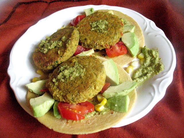 tacos with avocado and harissa and koftas