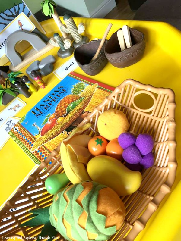 Handa's Suprize Tuff Tray - Exploring Culture with Preschoolers